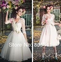 Hot Sale Half Sleeve Lace Short White Wedding Dresses 2014 vestidos de fiesta Handmade Flower Short Bridal Gowns