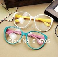 Cool Cute Inspired Fashion Women Lady Girls Oval Frame Mirror clean lens Plain Glasses Chic Eyewear Free Shipping