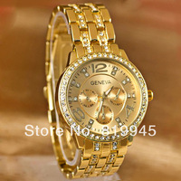 Free shipping GENEVA Women Alloy Watch with Diamonds and Numbers Hour Marks with Steel Watchband