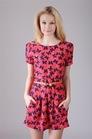 2014 Europe And The United States The Most Popular High-End Atmosphere Wweet Floral Ruili Princess Sleeve Pleated Dress