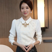 2014 Spring New Style Slim Blouse Women's Long-Sleeved Chiffon Shirt Sweet Flowers Patchwork Lace Shirt MG