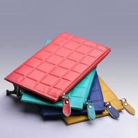 Candy colors cowhide genuine leather men card holder wallet women bank card bag women's purse cute card case
