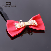 High quality sistance fourthomme vintage stereoscopic cutout metal butterfly inlaying male bow tie