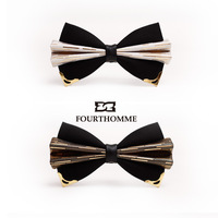 Men's tie/cravat High quality fourthomme inlaying metal quality bow tie male high quality bow tie gift box  free shipping