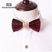 New arrival fourthomme high quality luxury velvet claretred rotating diamond the groom married wedding inlaying male bow tie