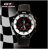 2014 New GT Design 7 Color Men Wristwatches F1 Watch Women Military Grand Touring Gift Quartz Hand Wind Watch Free Shipping