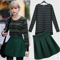 2014 Women's Spring Long-sleeve T-shitr Woolen  plaid Skirt Twinset Autumn and Winter basic short skirt