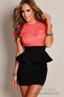 Free shipping Western Fashion Women's Sleeveless Lace Evening Dress, Wholesale Girls Summer Falbala Printing Club MIni Dress