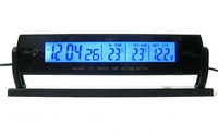 High quality fashion black car auto vehicle LCD screen clock time out/indoor temperature thermometer voltage meter