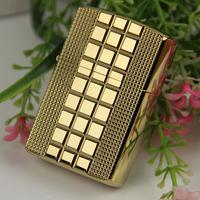 Kerosene, personalized lighter windproof small square titanium classic grid
