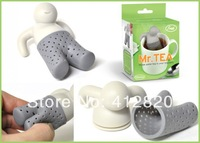 Free Shipping 1000pcs/bag Tea Strainer Fred Mr Tea Throw Some Tea in the Trousers Hang Out Food Grade Silcione Infuser