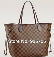 women's brown  neverfull handbag louis plaid shoulder bags free shipping New Arrive  N51105 tote bag salable