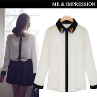 In the spring of 2014 white edge all match the lapel fashion long-sleeved shirts for women
