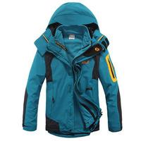 2014 Spring Outdoor Climbing windbreaker Top jacket 2 in 1 men sports coat Winter warm waterproof men's skiing jackets