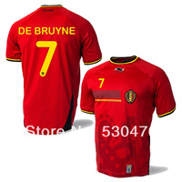 Top Thai Quality 2014 World Cup Belgium DE BRUYNE soccer jersey home red 2014/15 Belgium jersey athletic clothing Free Shipping