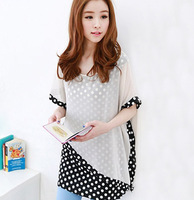 Spring women's sweet dot print irregular chiffon patchwork short-sleeve shirt