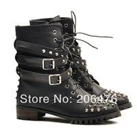 2014 Women Vintage Punk Flat Heel Motorcycle Boots Fashion Rivet Studded Ankle Boots Women's Autumn Winter Shoes