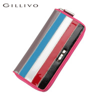 Gillivo 2013 color block stripe women's wallet genuine leather wallet