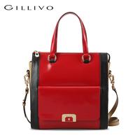 Gillivo women's shoulder bag color block shaping handbag red
