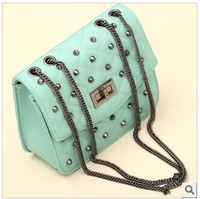 Rivet long chain female fashion single shoulder messenger bag plaid pattern
