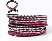 Crystal fashion leather wrap bracelet for women, bling rhinestone bracelet