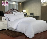 High Quality 100% cotton pure 40S satin weave comforter bedding set Full/Queen/King hotel hospital gasthaus More Colors
