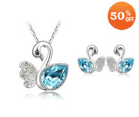 beauty swan design white gold plated austrian crystal wedding fashion jewelry set necklace earrings for women 7C922
