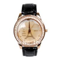 2014 women dress watch free shipping Women Big Dial Quartz Watch with Crystal Rhinestone Wrist Watch Black PU Belt Black Dial