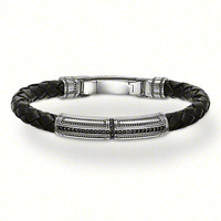 European Style Fashion Bracelet 925 Silver Cross Folding Clasp Black Leather Bracelet Free Shipping TMS-MBR044