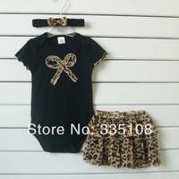 Drop shipping 2014 Baby girls 3 Piece Sets: black Romper +lace Tutu Leopard Skirt + Headband girls fashion summer clothing sets