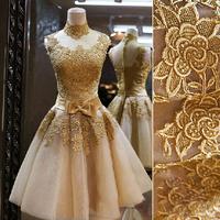 Short Gold  2014 Vintage Royal Lace Evening Prom Dress Bridal Gown Vestido De Novia