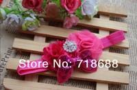 Hair Accessories mesh Flower with diamond new design  30pcs/lot