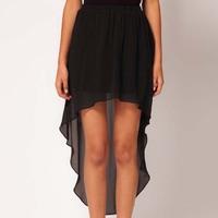 New 2014 Lady Fashion Summer  Elegant Irregular Hem Short Skirt Black Chiffon Dovetail Women Casual Skirt