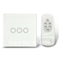 White UK Model intelligent remote control switch& touch switch 3 gang tactile switch with glass cover, 433Mhz, free shipping