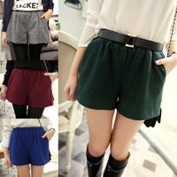 Autumn and winter all-match woolen shorts basic women's shorts elastic waist 2014