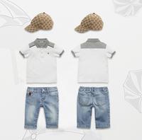 Wholesale Brand Boy Cloth Set (Hat + Tshirt + Jeans Pants) Summer 3pcs Outfits Sun Hat/Cap+Shortsleeve T shirt+Denim Pant 6sets