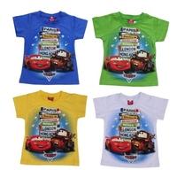 Free shipping!Wholesale 5pcs/lot  Summer fashion short-sleeved Cars cartoon children  cotton  short sleeve T-shirts boys 5color