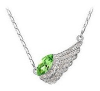 New 2014 Fashion Individual New Style Silver Color Delicate crystal Necklace angel wing for Women