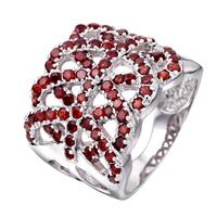 Graceful Elegant International 925 sterling silver platinum natural garnet women ring January birth stone gift