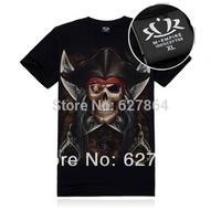 Mens o-neck 3d cotton Tshirt 3D printed t-shirts largr size rock skull men's T-shirt tees short sleeve brand new tops