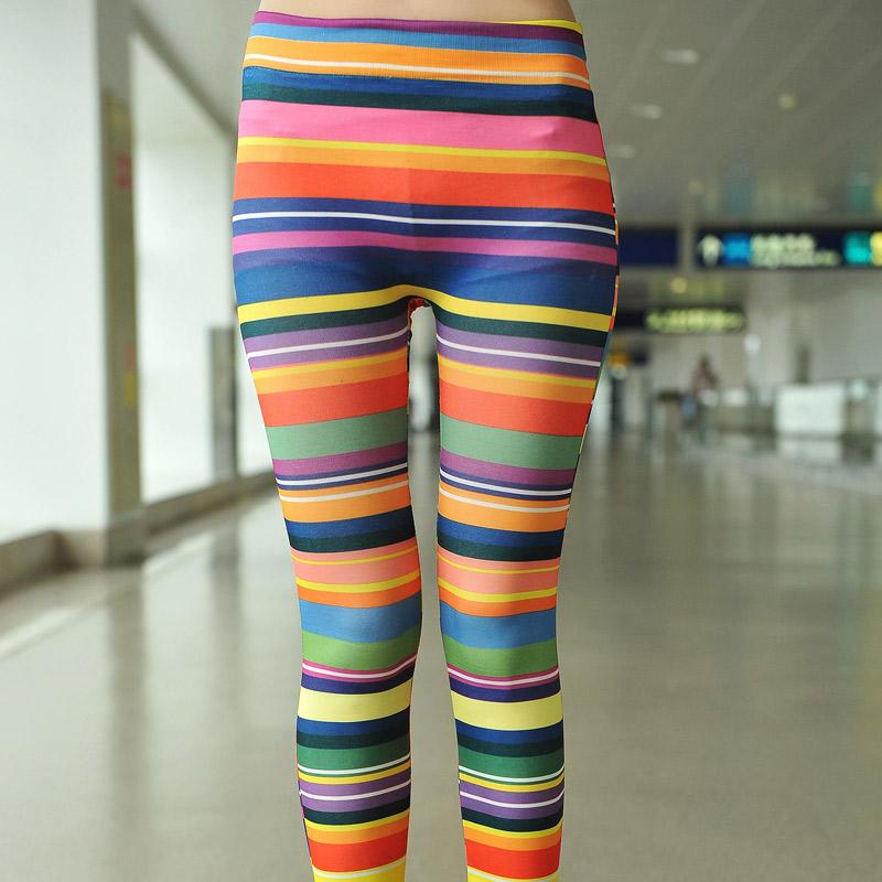 Colored Striped Leggings Pants Color Stripe Legging
