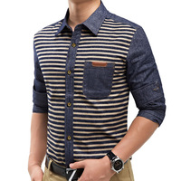Male casual long-sleeve denim shirt slim patchwork horizontal stripe autumn and spring men's casual blouse VHH022