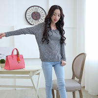 F08 3448607 2014 spring lacing casual loose shirt basic sweater