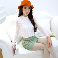 3262057 2014 spring small gentlewomen stand collar lace basic shirt chiffon shirt