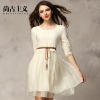 Free shipping 2014 spring fashion women's slim lace one-piece dress chiffon patchwork dress