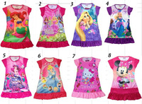 New 12 pcs wholesale Princess girl nightgown cartoon princess dress children's dresses leave message to choose size and design