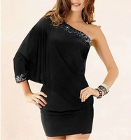 ruched bodycon one shoulder metallic trimmed black clubbing dress porm dress Free Size Free Drop Shipping F3127