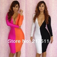 Free Shipping LC2976 Hot Deep V-neck Long Sleeve Cutout Bow Back Color Block Sexy Night Club Cheap Bandage Dresses Midi Dress