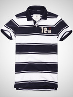 Free Shipping Wide stripe cotton POLO shirt lapel#M11MSP024