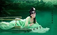 Aesthetic 2013 costume elegant women's expansion skirt green yarn
